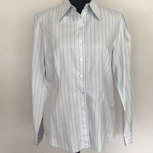 Escada blue cotton button up blouse Size 40